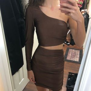 Brown one long sleeve short dress Tiger Mist